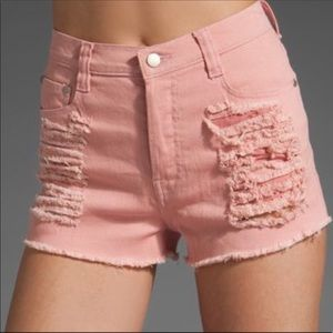 MINKPINK Slasher Denim Pink Shorts
